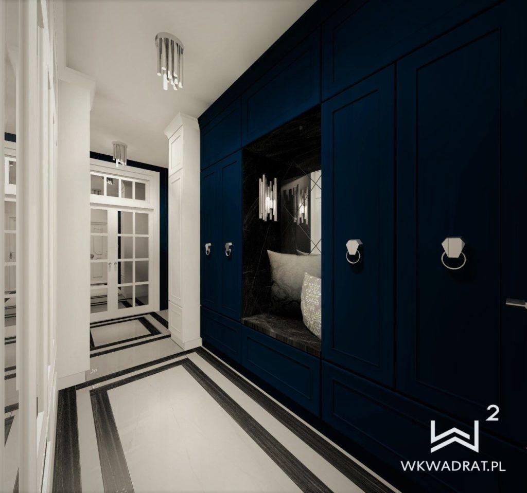 PROJEKTOWANIE I ARANŻACJA WNĘTRZ - ARCHITEKT WNĘTRZ KOSZALIN projekt-aranzacji-hol-niebieski-apartamentu
