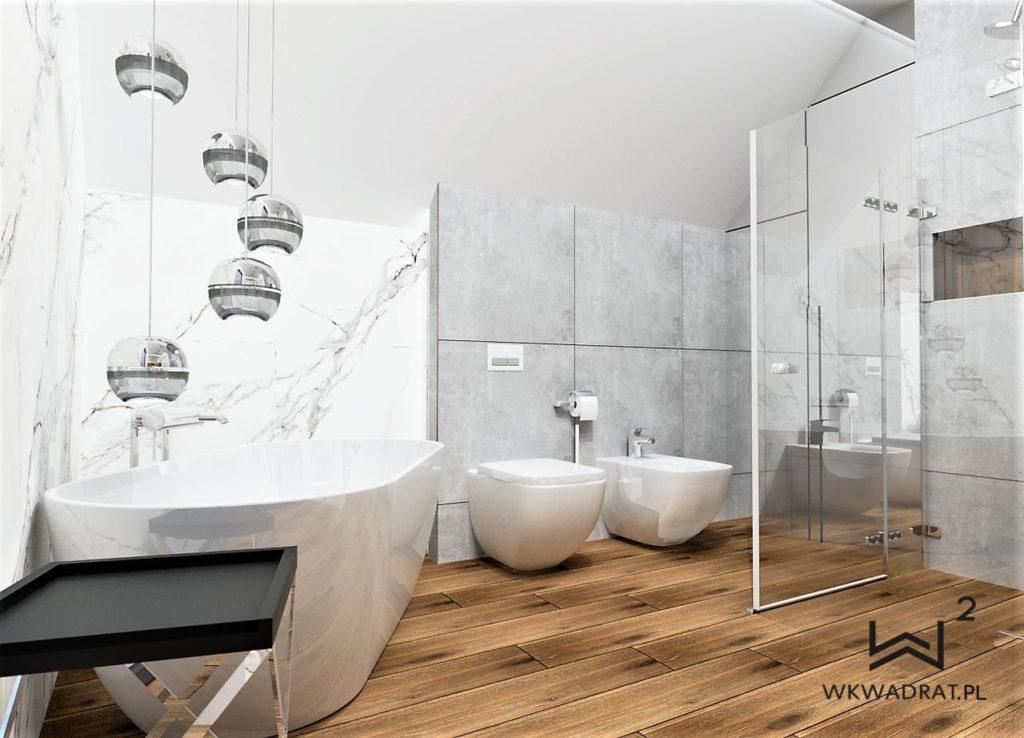 PROJEKTOWANIE I ARANŻACJA WNĘTRZ - ARCHITEKT WNĘTRZ KOSZALIN -projekt-lazienki-slawno-calacatta-drewno-aranzacja-lazienki-glamour